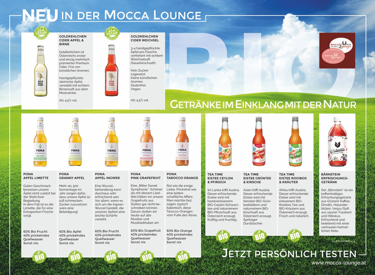 ERFRISCHEND BIOLOGISCH | Mocca Lounge - Patisserie - Cafe - Lounge ...